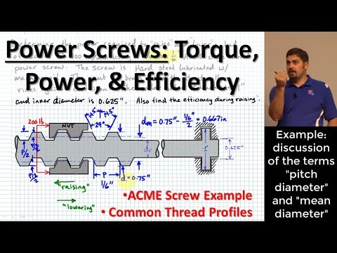 Power Screws: Torque, Power, and Efficiency | Standard