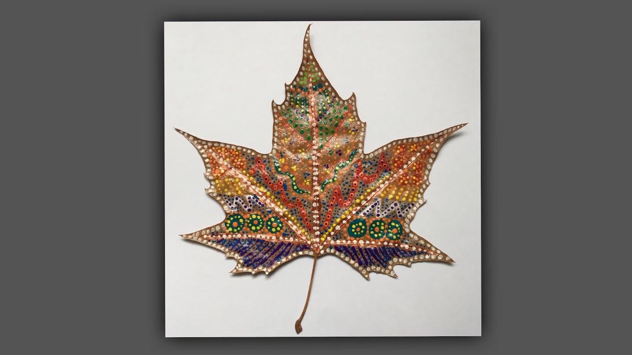 Deco D Automne Facile ? peinture sur feuille d'arbre - diy bricolage déco d'automne noël  pointillisme sabcreations