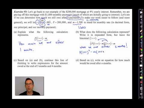 Common Core Algebra II.Unit 5.Lesson 6.Mortgage Payments