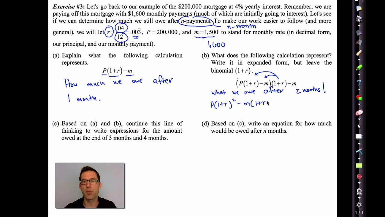 Common core algebra iiunit 5lesson 6rtgage payments youtube falaconquin