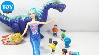 đồ chơi Doremon chế hài - Nobita giải cứu Nàng Tiên Cá bị khủng long ăn hiếp