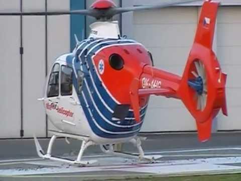 ok-ahg ec-135 přílet z brna na heliport