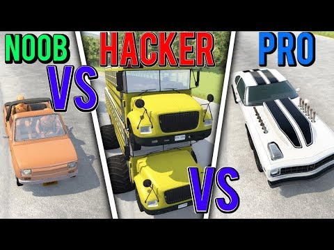 BeamNG Drive - NOOB Vs PRO Vs HACKER #8 (Crashes & Stunts)