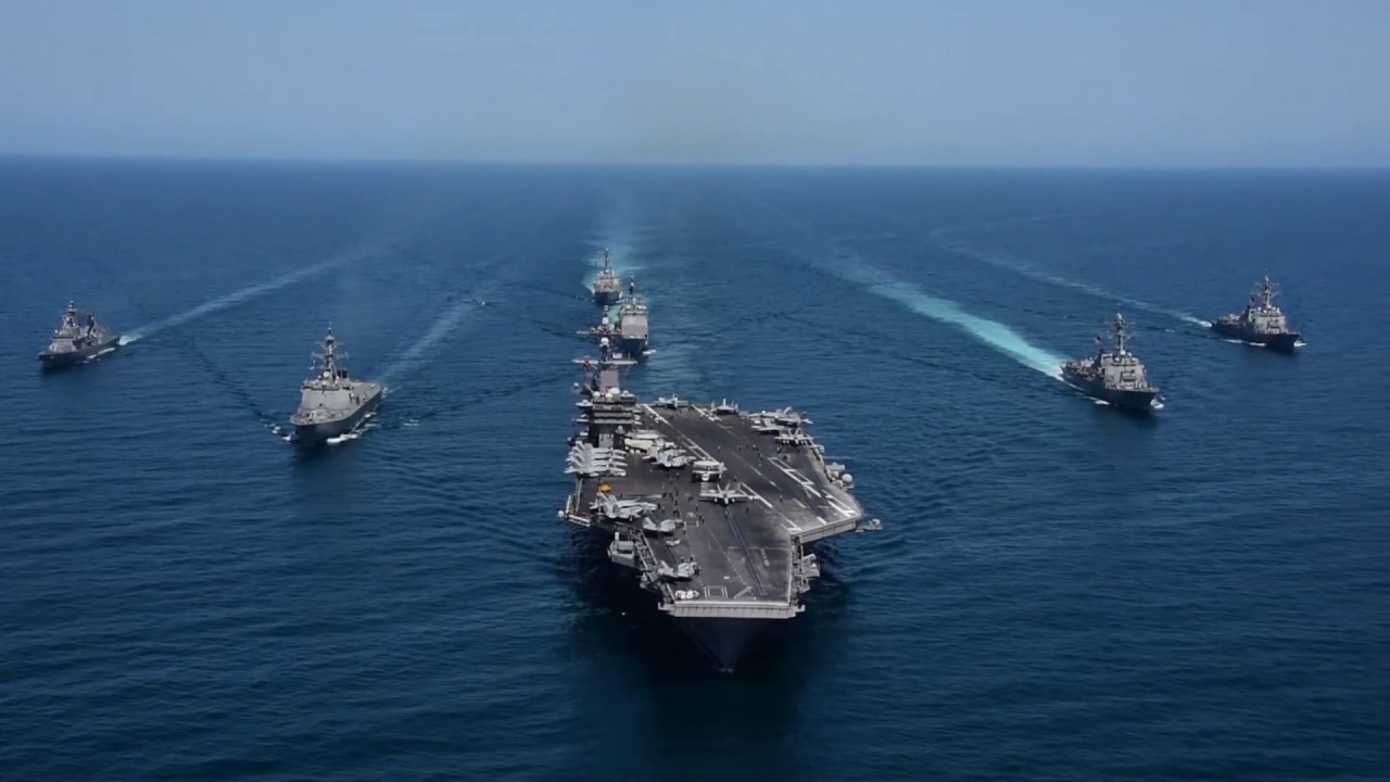 Aircraft carrier Carl Vinson Strike Group and ROK Navy ...