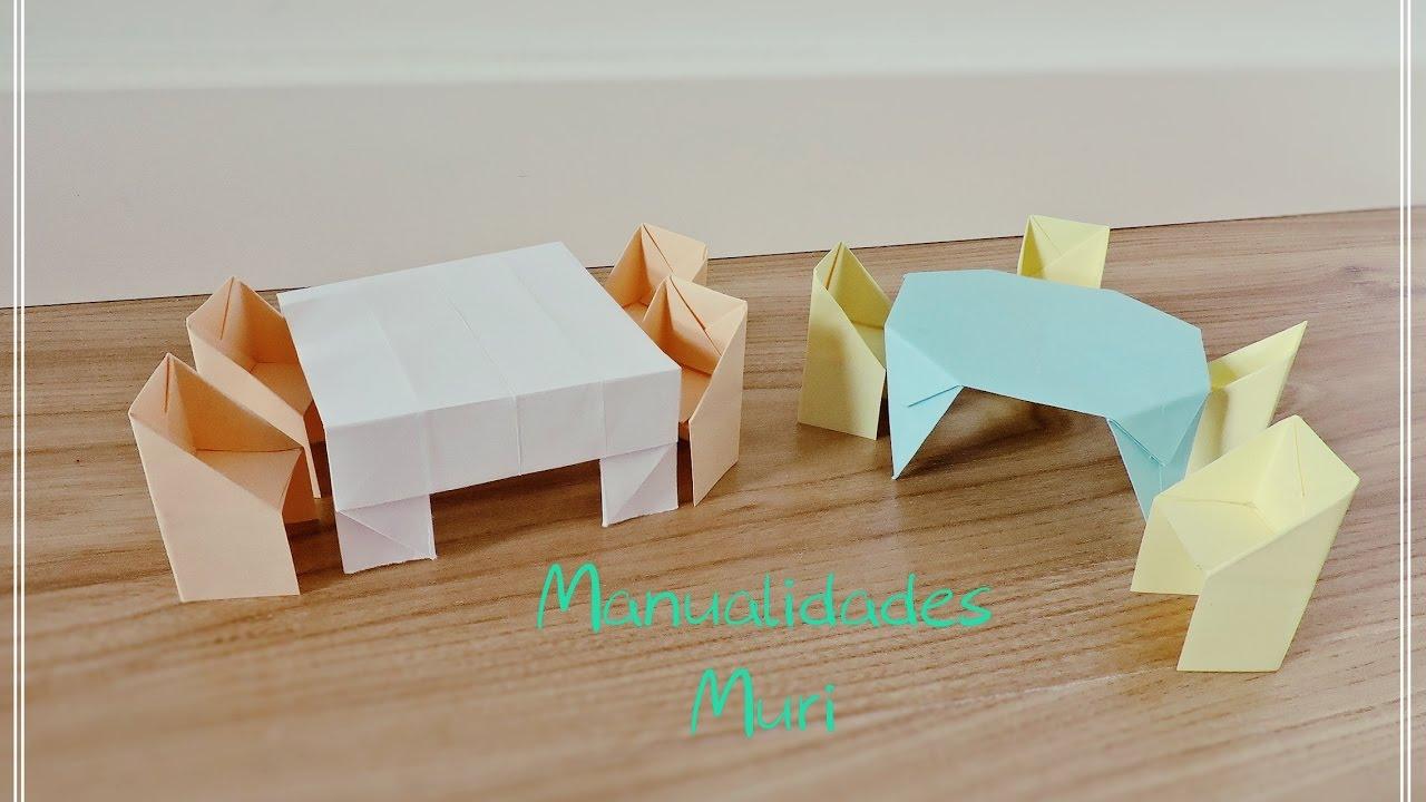 Origami juego de mesas y sillas de papel youtube for Juego de mesa y sillas esquineros