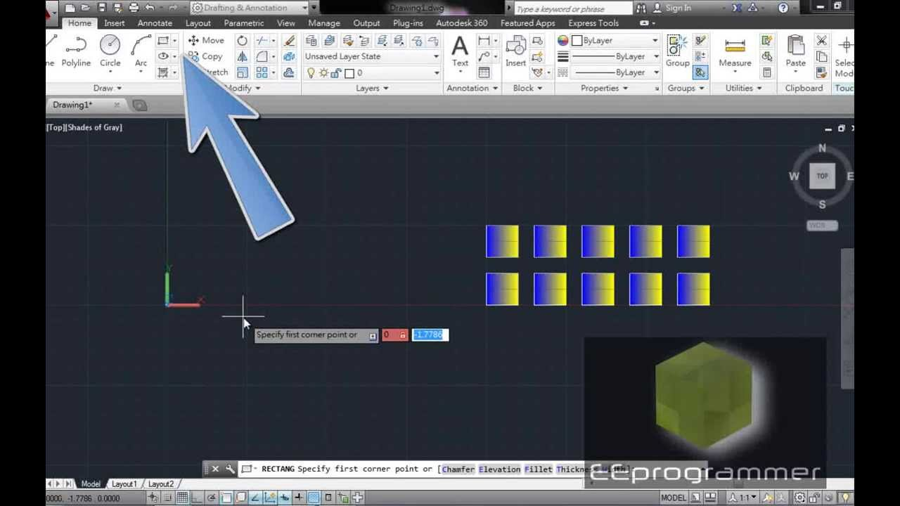 AutoCAD 2014 Tutorial: Rectangular pattern (ARRAY command