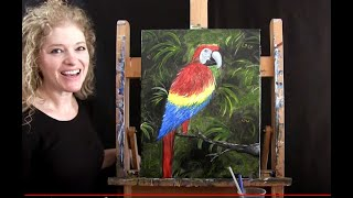 Peek A Boo Parrot | Cookies and Canvas for Kids | Step by Step Acrylic Painting Tutorial and Recipe