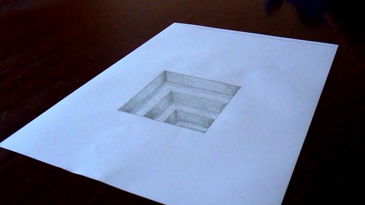 the original amazing 3d hole in paper drawing timelapse