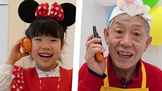 Grandpa pretend play a babysitter for Granddaughter Yuni 할아버지의 유니의 좌충우돌 24시간!   로미유스토리   Romiyu
