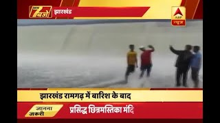 Jharkhand: People risk their lives to take a selfie near swollen river