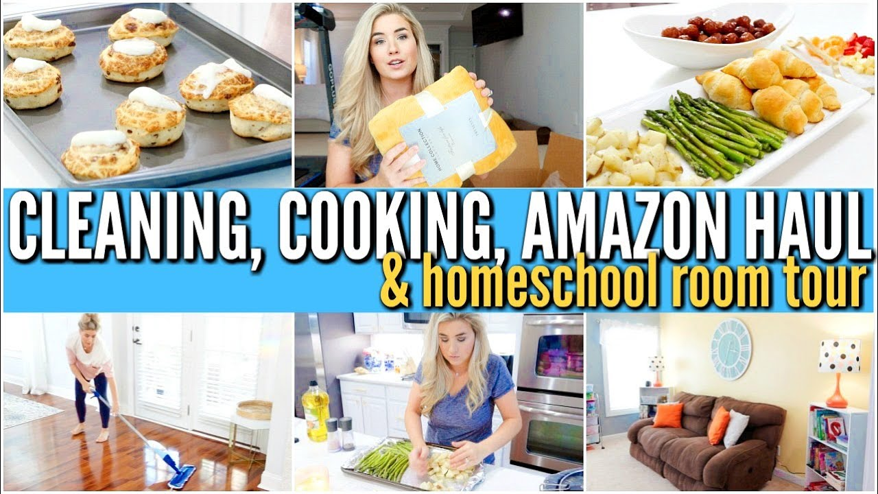 CLEAN WITH ME | WHATS FOR DINNER | HOMESCHOOL ROOM TOUR. AMAZON HAUL. DAY IN THE LIFE | Love Meg