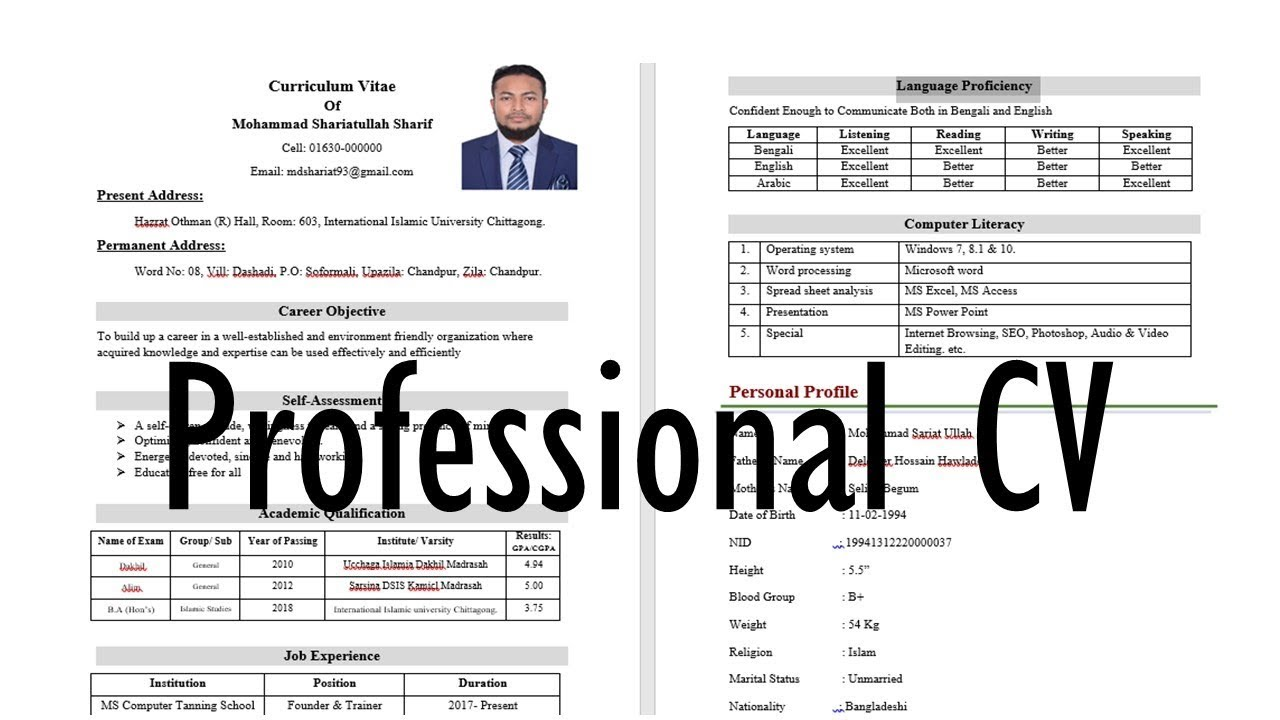 resume of a young professional