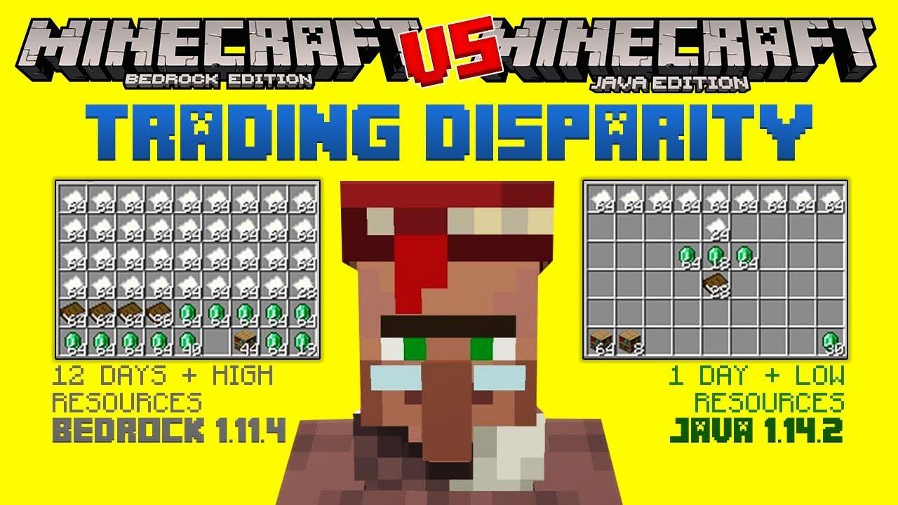 Minecraft Bugs TRADING DISPARITY  Bedrock VS JAVA  Minecraft Bedrock  Edition (MCBE)
