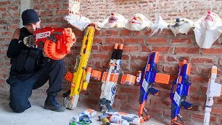 NERF WAR SWAT Warriors Nerf Guns Fight Bandits Guards Dangerous Criminals Mask