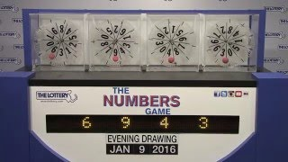 Evening Numbers Game Drawing: Saturday, January 9, 2016