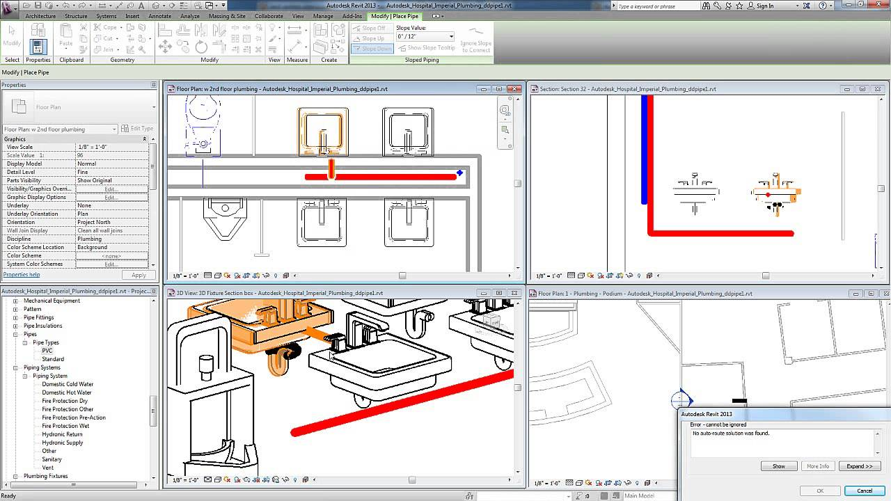 Revit For Mep Plumbing Systems Manually Adding Pipes Youtube What Is A Piping Diagram