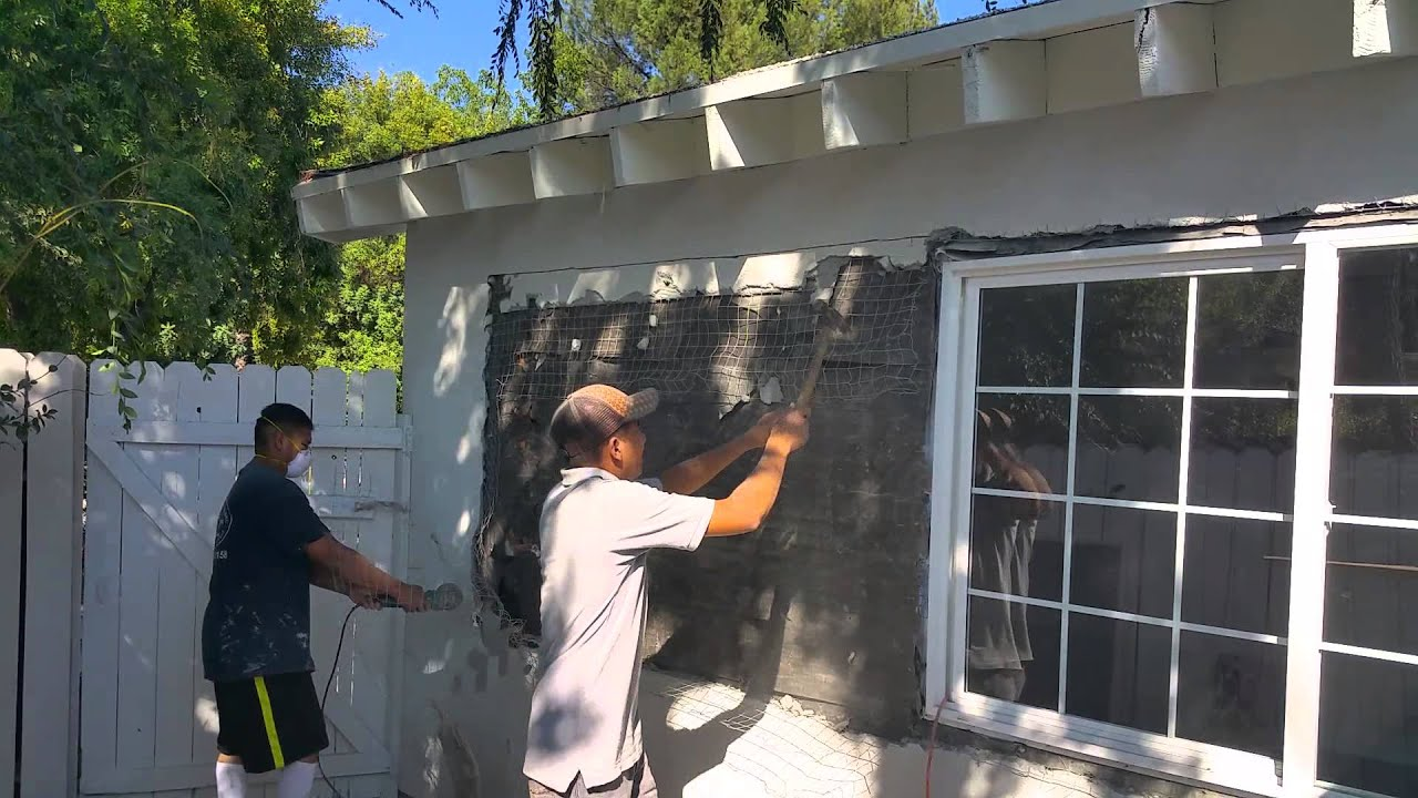 Encino California removing stucco wall to relocate window by