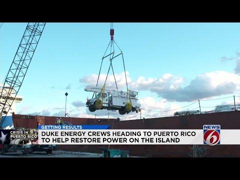 Duke Energy crews heading to Puerto Rico to help restore power on the island