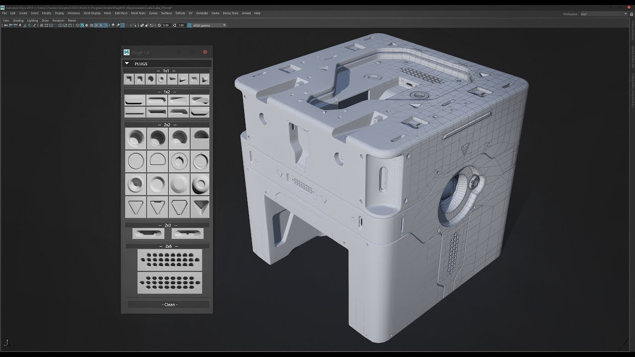 PlugIt - Maya Hard Surface Insert Mesh Plugin - Cube Demo