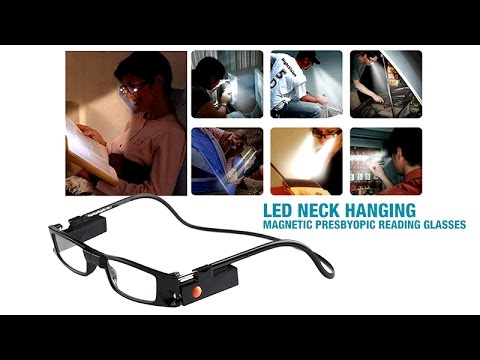 7f507730c256 LED Neck Hanging Magnetic Presbyopic Reading Glasses - YouTube
