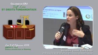 """Colloque """"Soft Law et droits fondamentaux"""" - Intervention Mme Stephane GERRY-VERNIERES"""