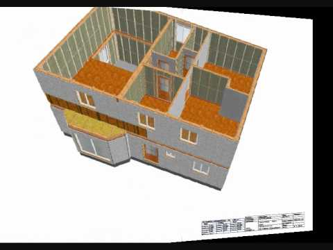 Exemple de plan maison ossature bois en 3d youtube for Plan de maison 3d