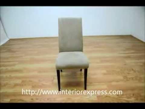 InteriorExpress Tessa Cream Microfiber Dining Chairs with Wood Legs