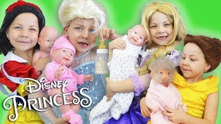Disney Princess and Babies in real life Rapunzel Elsa Snow White moms