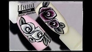 🌸 ПРОСТОЙ дизайн ногтей 🌸 ТРАФАРЕТНАЯ роза 🌸 Цветы на ногтях 🌸 Дизайн ногтей гель лаком 🌸