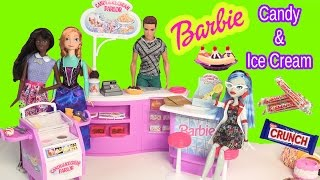 Barbie Dolls Candy & Ice Cream Parlor Playset With Disney Frozen Princess Anna, Ghoulia Toy Unboxing