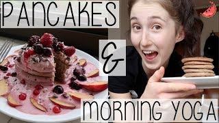WEEKLY VLOG  THE EASIEST PANCAKE RECIPE, DAILY MORNING YOGA ROUTINE + DANCER MUSCLE SORENESS