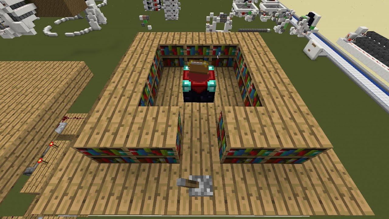 minecraft redstone tutorial verborgen boekenkasten enchanting table