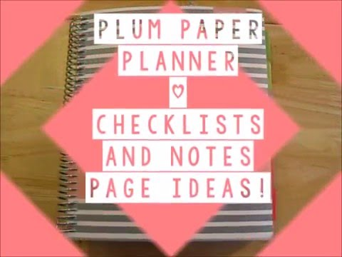 Plum Paper Planner- Checklist and notes pages ideas! - YouTube