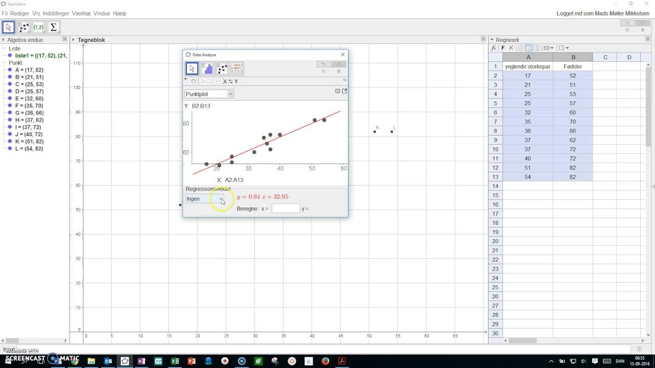 Lineær regression Geogebra