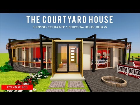 Shipping Container 5 Bedroom Courtyard House Design with Floor Plans  POLYBOX 800