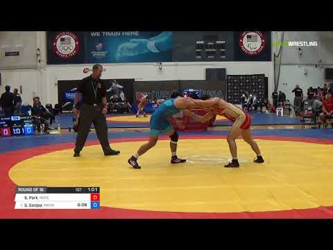 Mens Freestyle 70 Round of 16 - Su Hyeon Park (Kore) vs. Ganbayar Sanjaa (Mong)