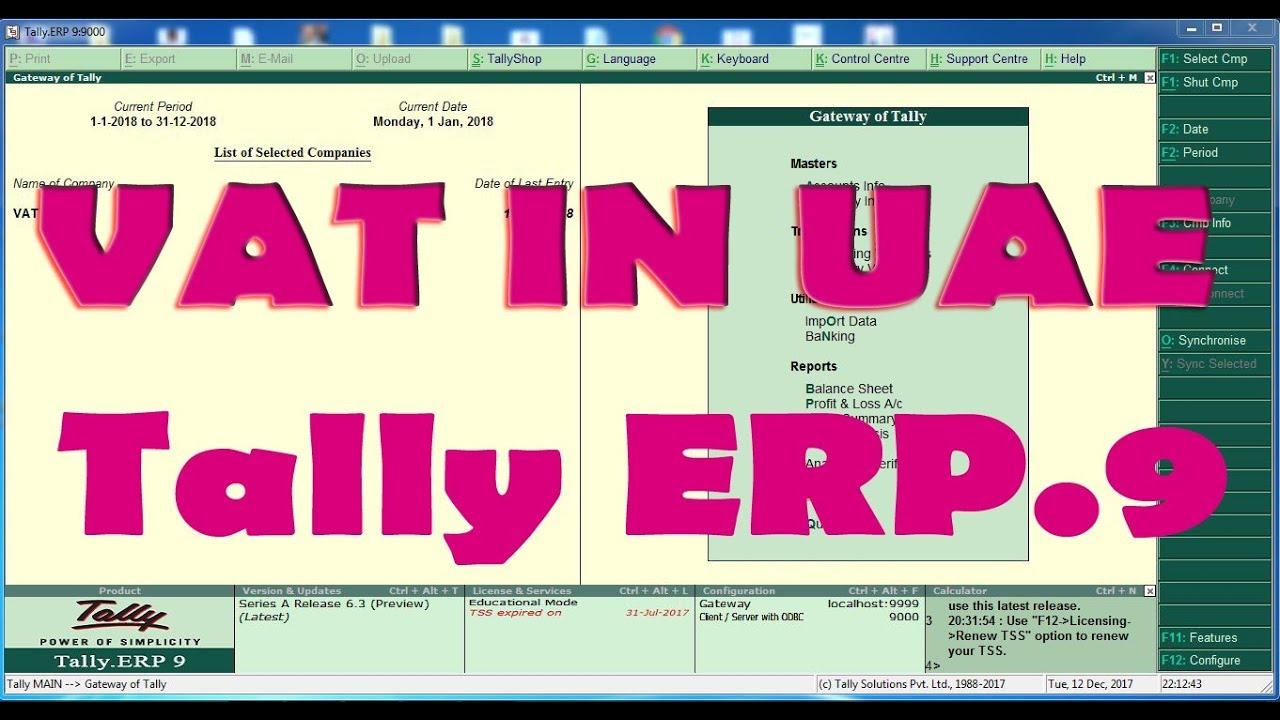 Vat In Tally Erp 9 Release 6 3 Uae Youtube