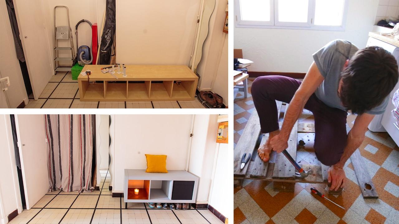 am nagement de l 39 entr e ikea hack et d montage de palette youtube. Black Bedroom Furniture Sets. Home Design Ideas