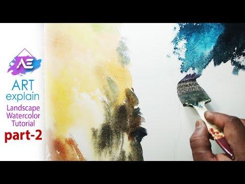 Watercolor landscape painting Tutorial – part 2 | Art Explain