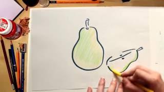 Como dibujar una Pera - dibujos de frutas para niños