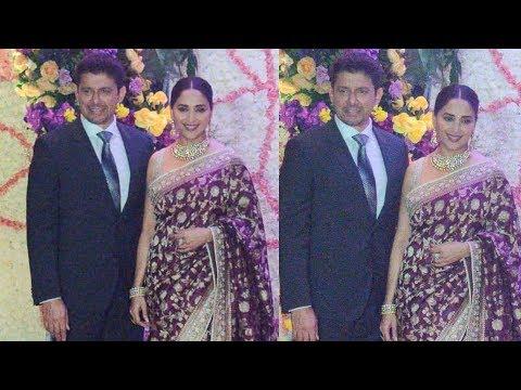 Madhuri Dixit With Husband Sriram Nene At Sooraj Barjatya's Son Devaansh Barjatya Wedding Reception