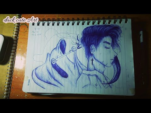 Draw anime boy & death god with ballpoint pen. Vẽ anime ...