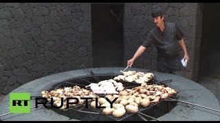 Spain: Is this the most dangerous BBQ in the world? Cooking on a VOLCANO!