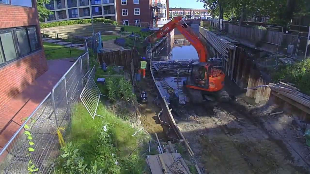 Greenford Ltd - First Stages of Library Footbridge Construction - Maidenhead Waterway Restoration