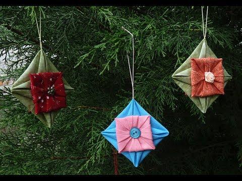 Fabric Folded Star Ornament - YouTube