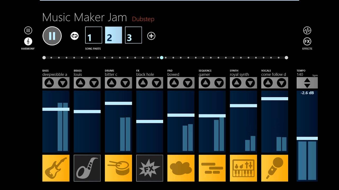 windows appmusic maker jam dubstep youtube