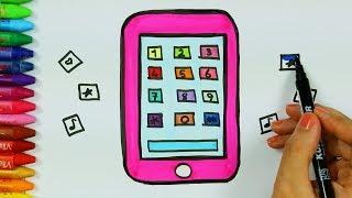 как рисовать мобильный телефон - Телефон раскраска - Как покрасить телефон - Как рисовать и цвет