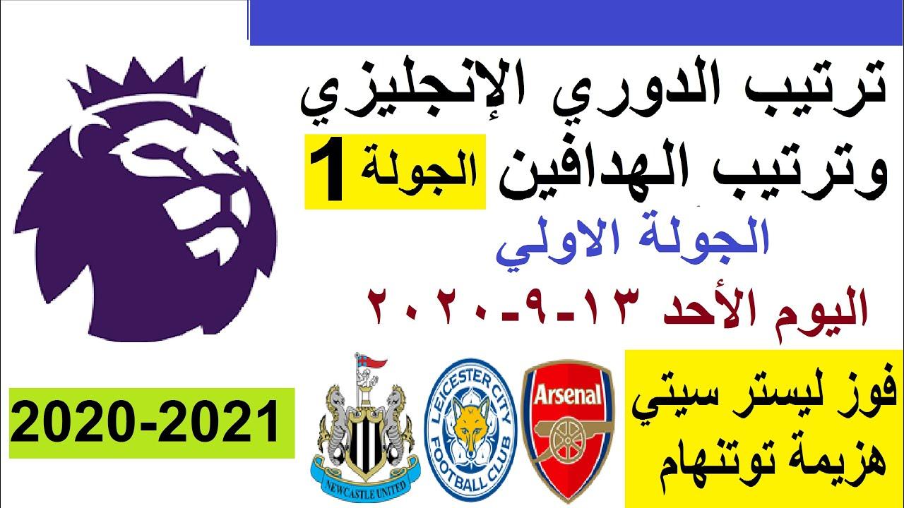 ترتيب الدوري الإنجليزي وترتيب الهدافين الجولة 1 الموسم الجديد 2020 2021 فوز ليستر وهزيمة توتنهام Youtube