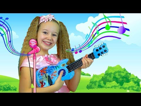 Polina & Mary pretend play Guitar Music toys and sing kids songs