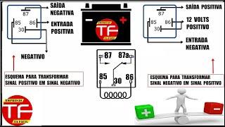 Transformar sinal positivo em sinal negativo ou vice-versa usando relê auxiliar 12 volts